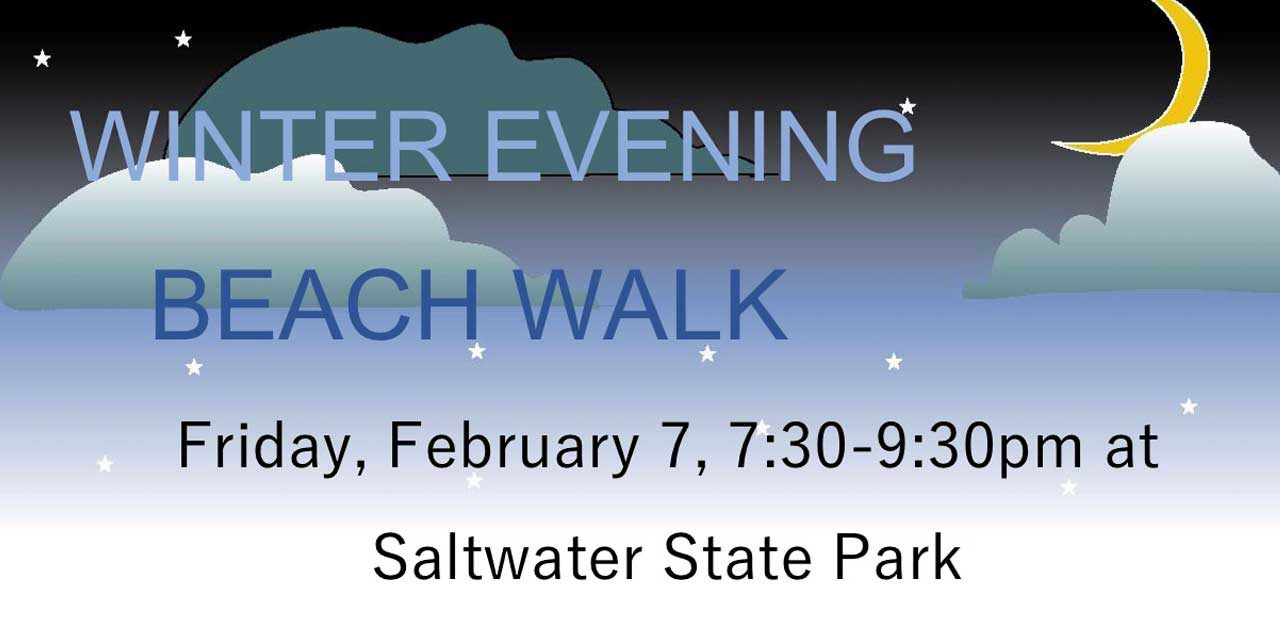 Winter Evening Beach Walk will be Friday, Feb. 7 at Saltwater State Park
