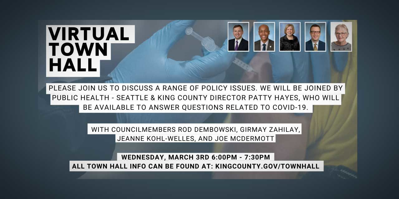 REMINDER: King County's Virtual Town Hall on COVID vaccines is tonight